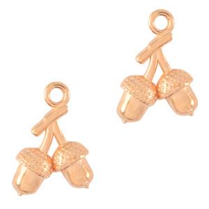 Bedels DQ metaal Eikeltjes rose goud(nikkelvrij) per stuk