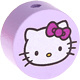 Houten kraal rond ''Hello Kitty'' lila ''babyproof''