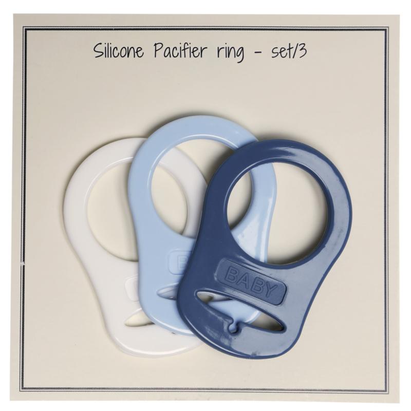 Siliconen Pacifier-Ring  (blauwe set van 3) Go Handmade