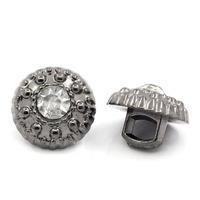 Knoopje met glinstersteentje metallook antiek zilver 1