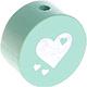 Houten kraal hart mint ''babyproof''