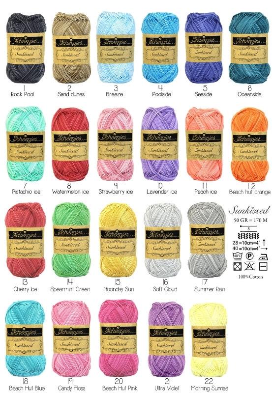 Alle 22 kleuren Sunkissed van Scheepjes!