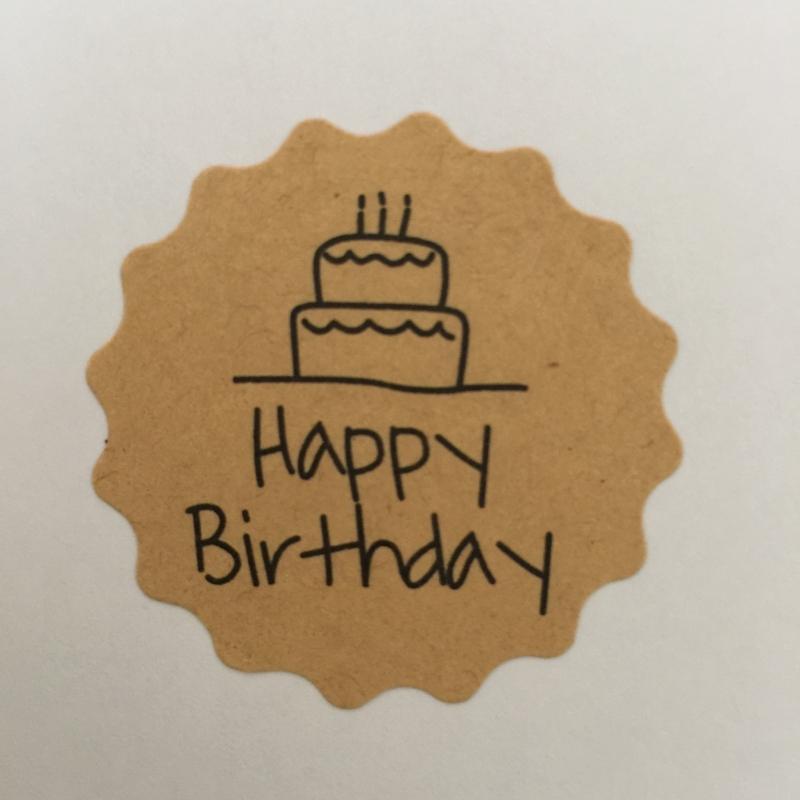 Kadosticker  Happy Birthday 12 stuks per vel.