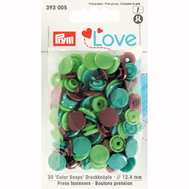 Color snaps -  Prym Love color rond 12,4mm bruin, groen en zeegroen