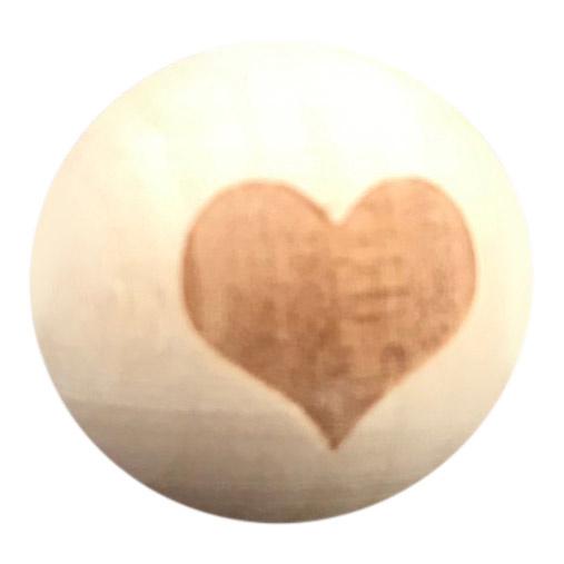 Houten kraal met Hartje 20 mm