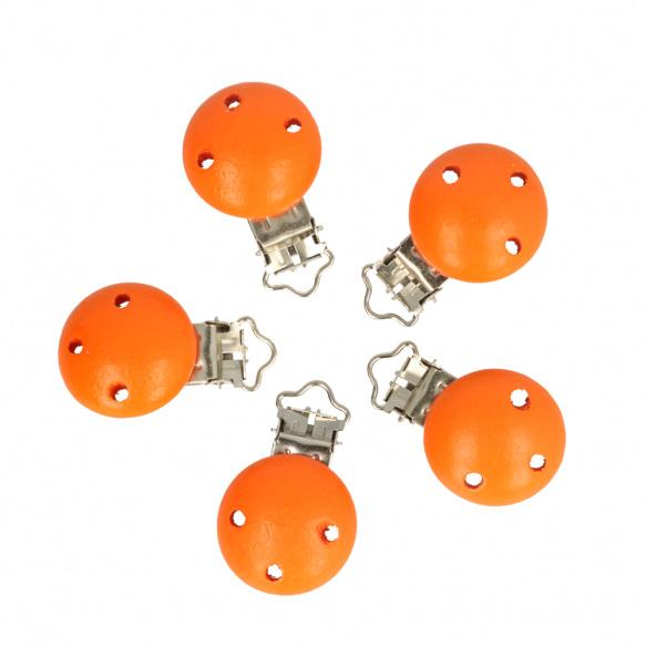 5 kleine houten speenclips Opry  Oranje
