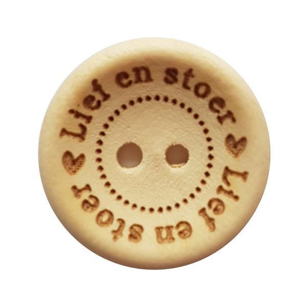 Houten knoop: ♥ Lief en stoer ♥ 20mm