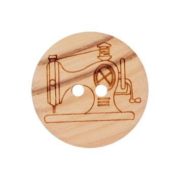 Houten knoop met naaimachine 20mm