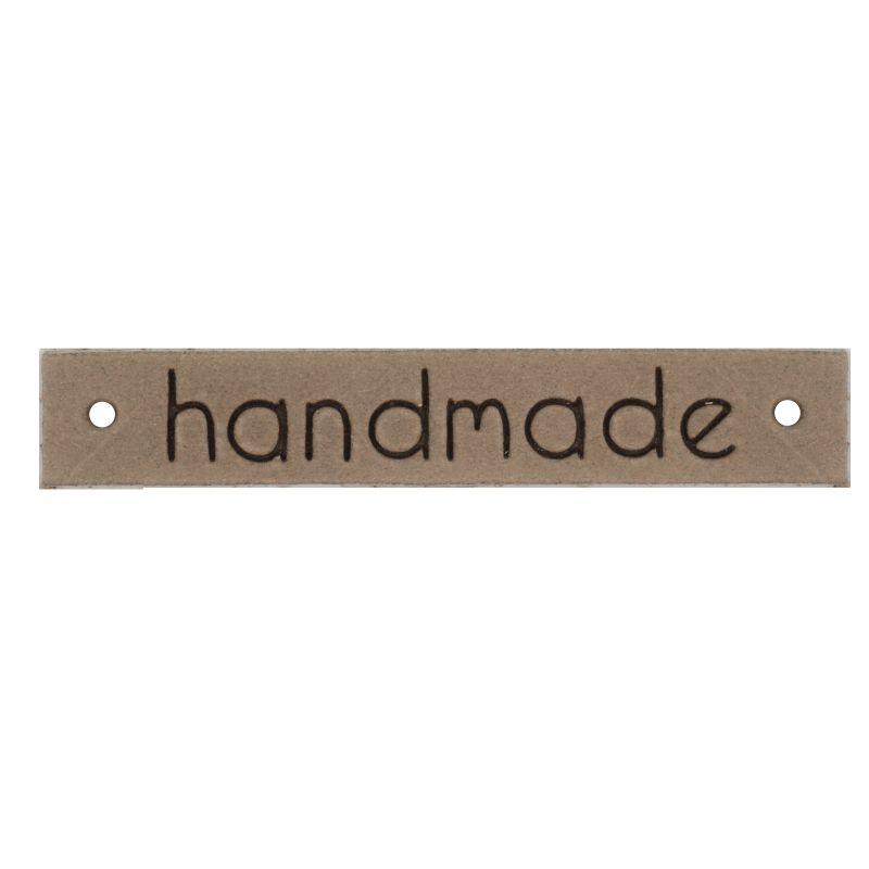 Leren label Handmade 10mm x 61,5mm camel