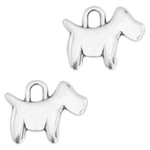 Bedel hond antiek zilver (nikkelvrij)