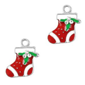 Bedel Kerstsok zilver-rood per stuk