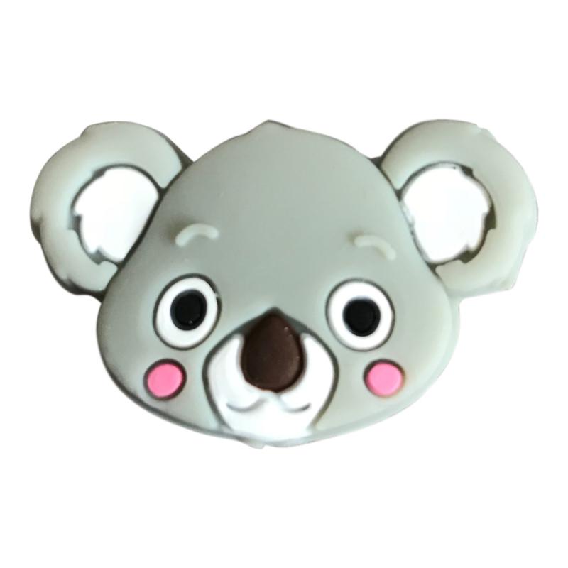 Siliconen kraal Koala hoofd - Grijs