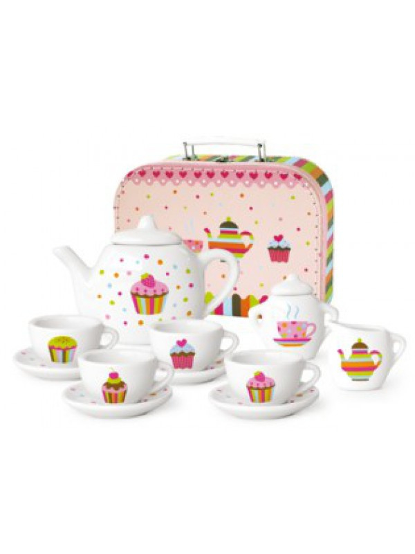 Koffertje met porcelein serviesje  Cupcake in koffertje
