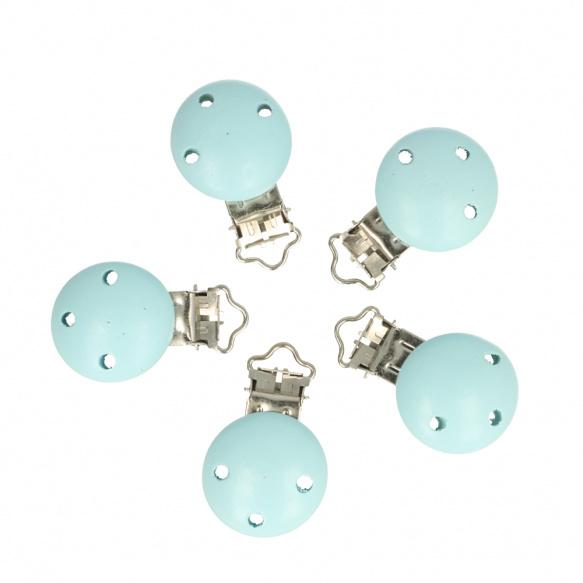 5 kleine houten speenclips Opry  Baby blauw
