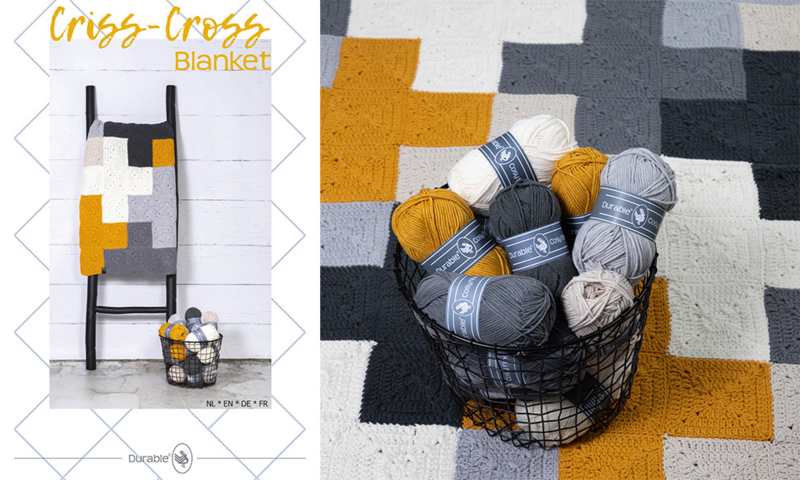 Criss-Cross Blanket Grey/Yellow