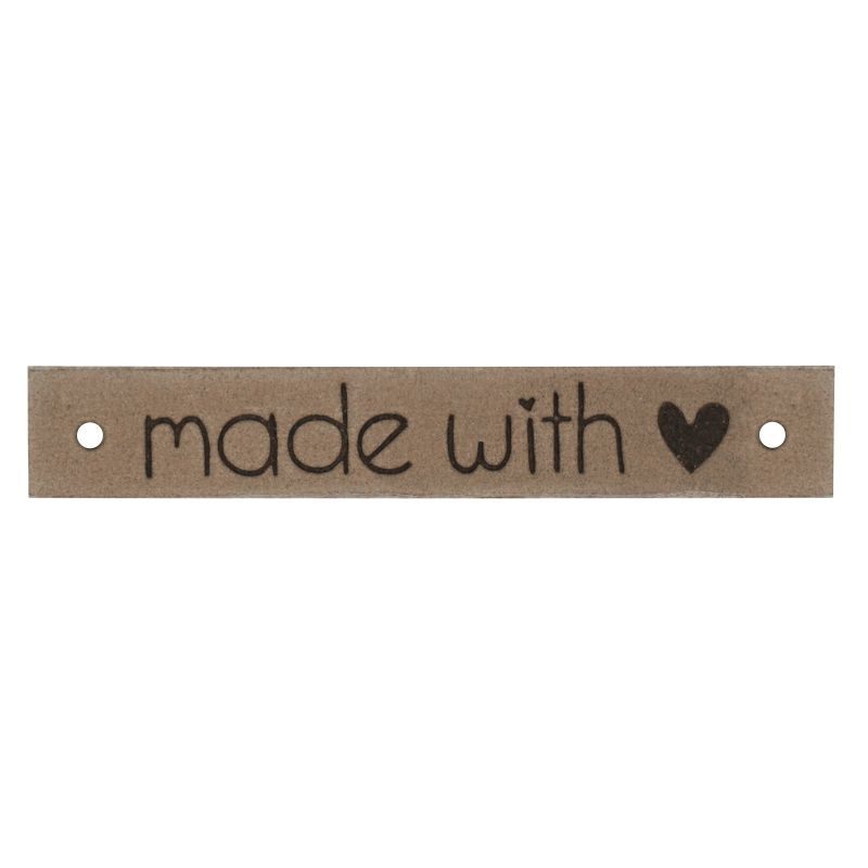 Leren label Made with ♥ 10mm x 61,5mm camel
