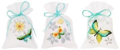 Geurzakje vlinders en bloemen set van 3
