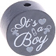 Houten kraal ''It's a Boy'' antraciet ''babyproof''