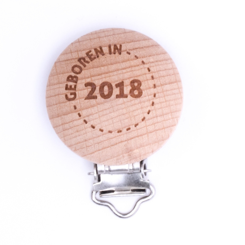 Houten speenclip houtkleurig blank met Geboren in 2018