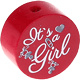 Houten kraal ''It's a Girl'' donkerrood ''babyproof''
