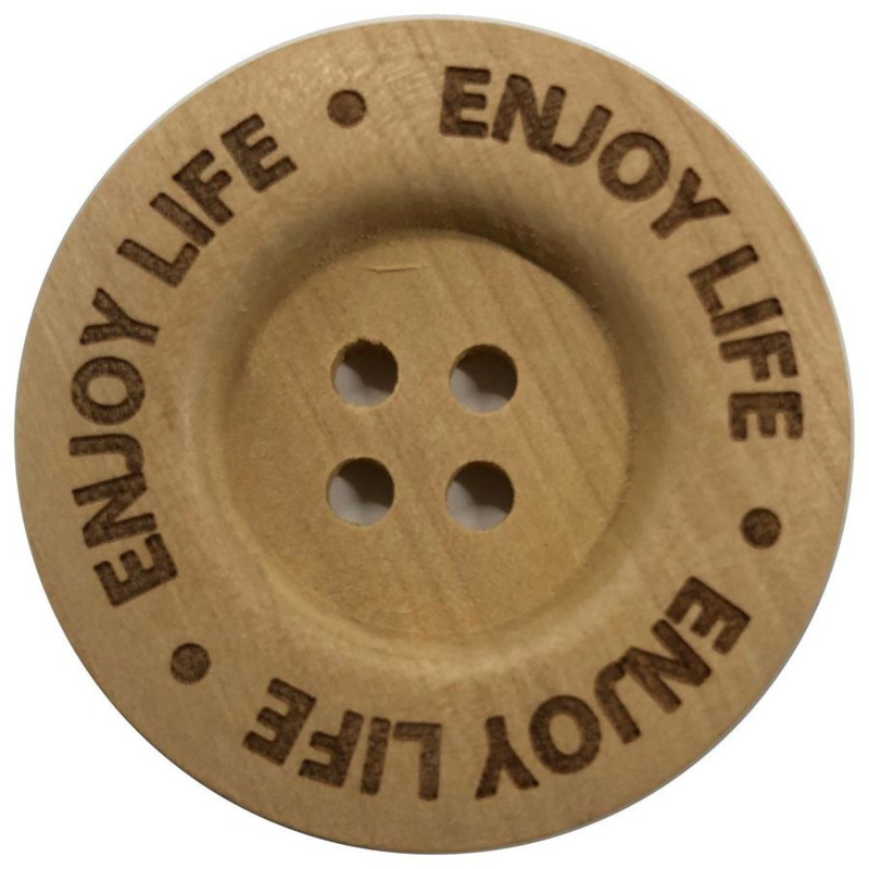 Houten knoop: Enjoy Life 40mm