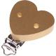 """Speenclip houten hart effen gekleurd Goudkleur """"Babyproof"""""""