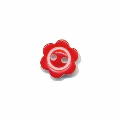 Bloemknoopje  10 mm Rood met randje glossy