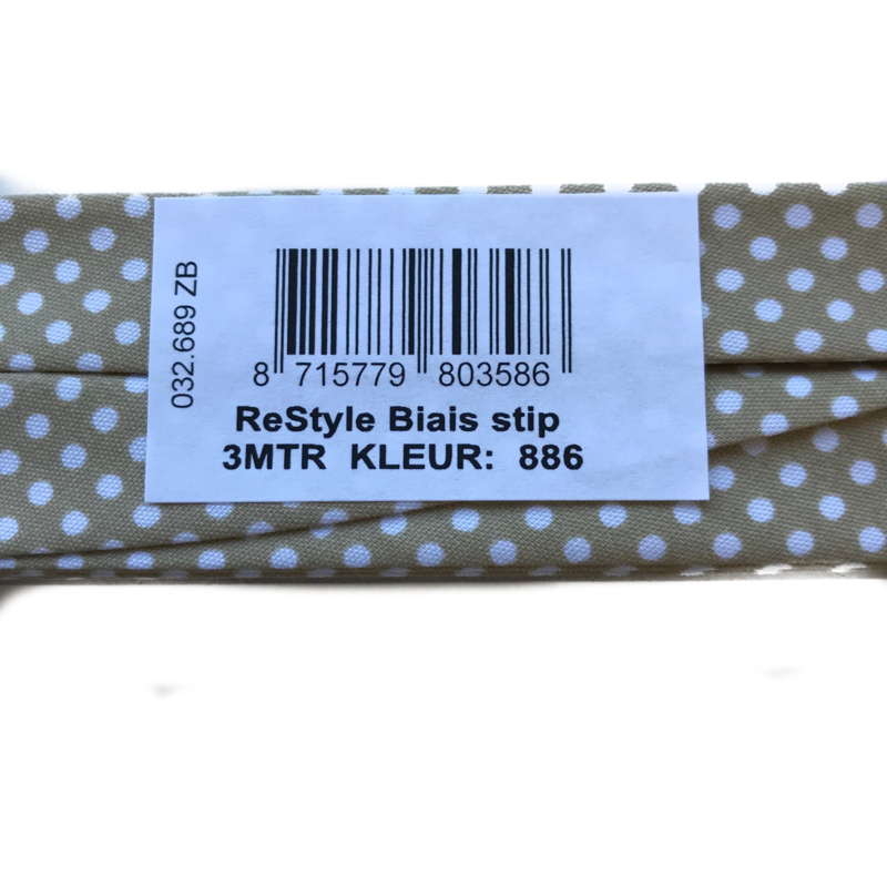 Restyle Biaisband 3 meter Taupe - dot -stip 886