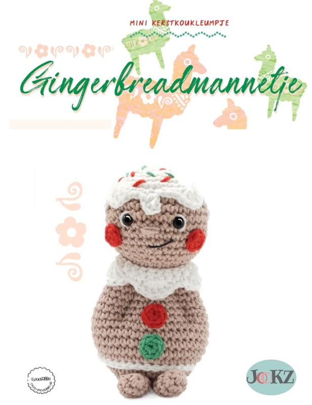 Garen en fourniturenpakket Mini kerstkoukleumpje Gingerbreadmannetje