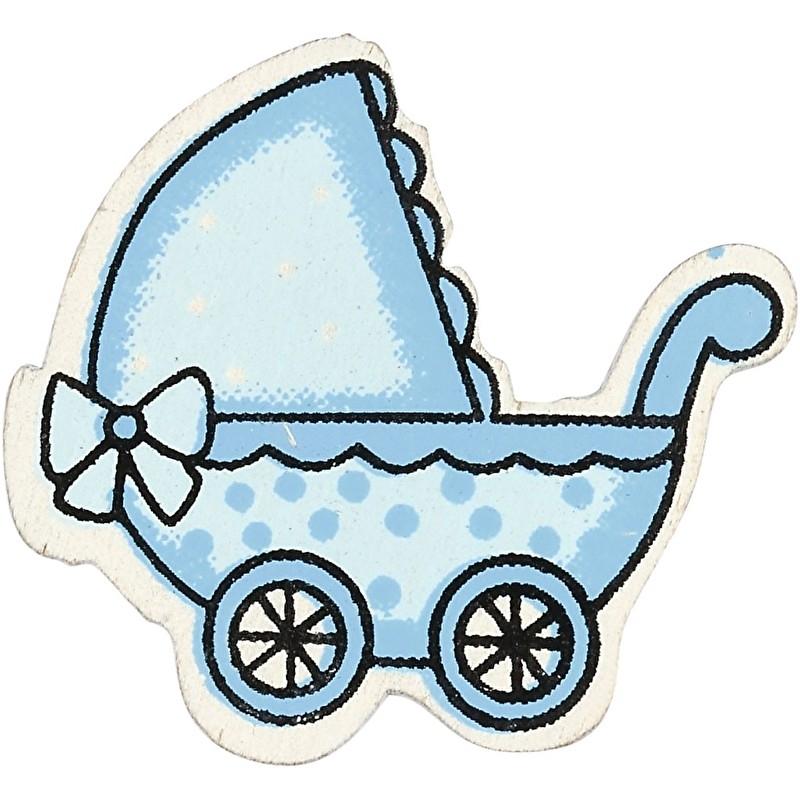 Houten kinderwagen  Blauw decoratie 10 stuks