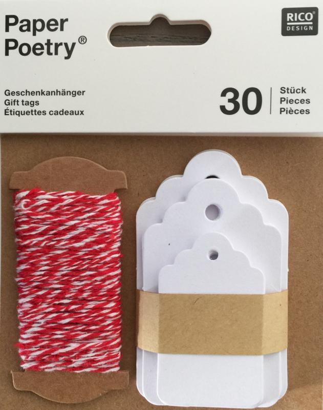 Rico Labelsetje Ornament Wit met koord 30 stuks