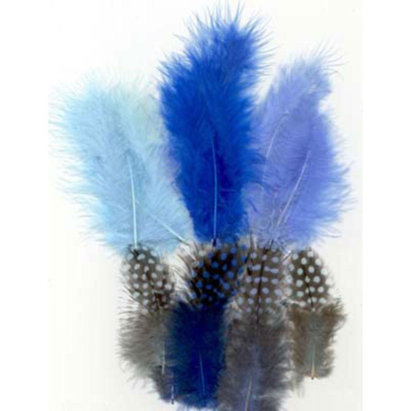 Veertjes mix - blauw -
