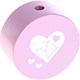 Houten kraal hart babyroze ''babyproof''