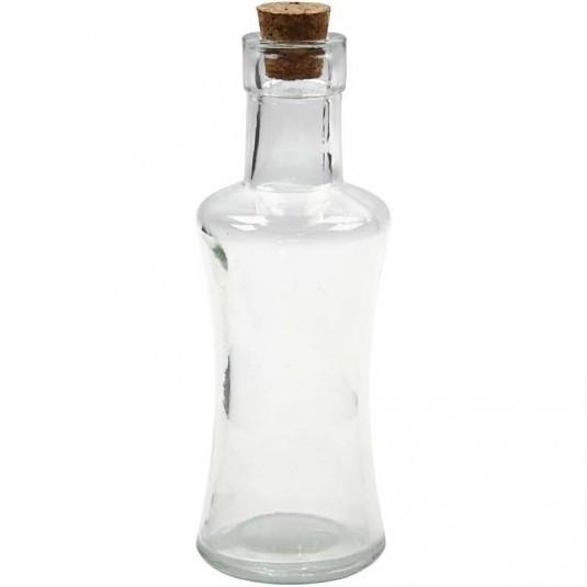 Glazen fles hoogte 21cm