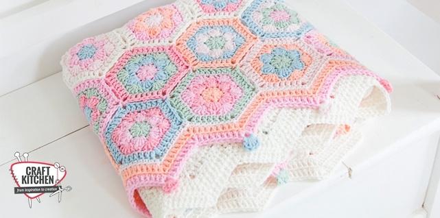 Babydekentje Hexagon eigen kleurkeuze  met gratis patroon!