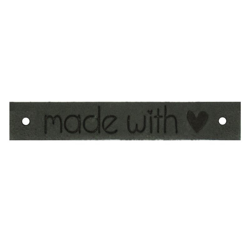 Leren label Made with ♥ 10mm x 61,5mm antraciet