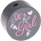 Houten kraal ''It's a Girl'' antraciet ''babyproof''