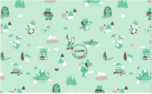 Jersey Stof Play in the Forest - color mint DenDennis