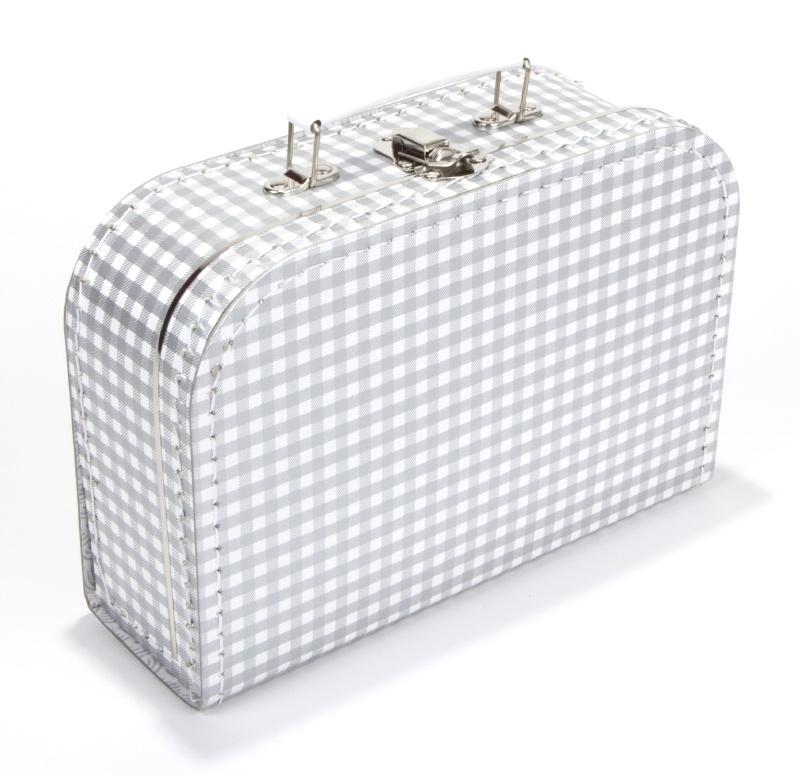 Koffertje Zilver/wit ruitje 25cm
