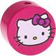 Houten kraal rond ''Hello Kitty'' fuchsia ''babyproof''