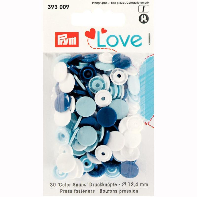 Color snaps -  Prym Love color rond 12,4mm wit, babyblauw en donkerblauw