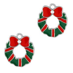 Bedel Kerstkrans zilver - groen -rood per stuk