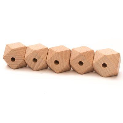 Durable houten hexagon kralen - 20mm- 5 stuks