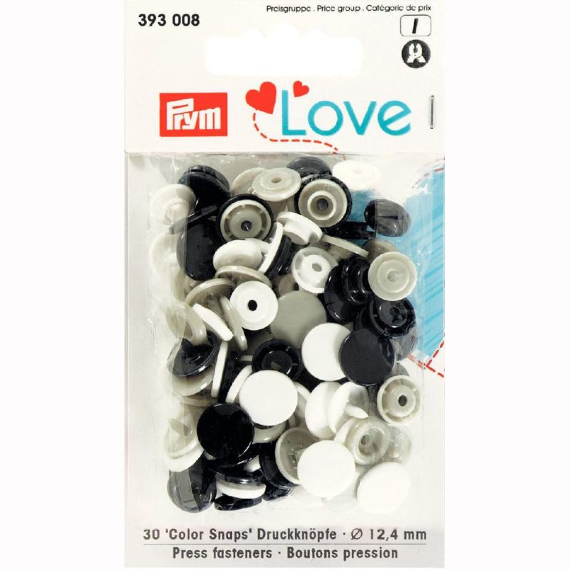 Color snaps -  Prym Love color rond 12,4mm wit, zwart en grijs