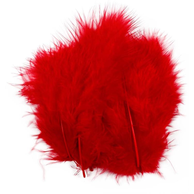 Veertjes 5-12cm ±15 stuks - Rood