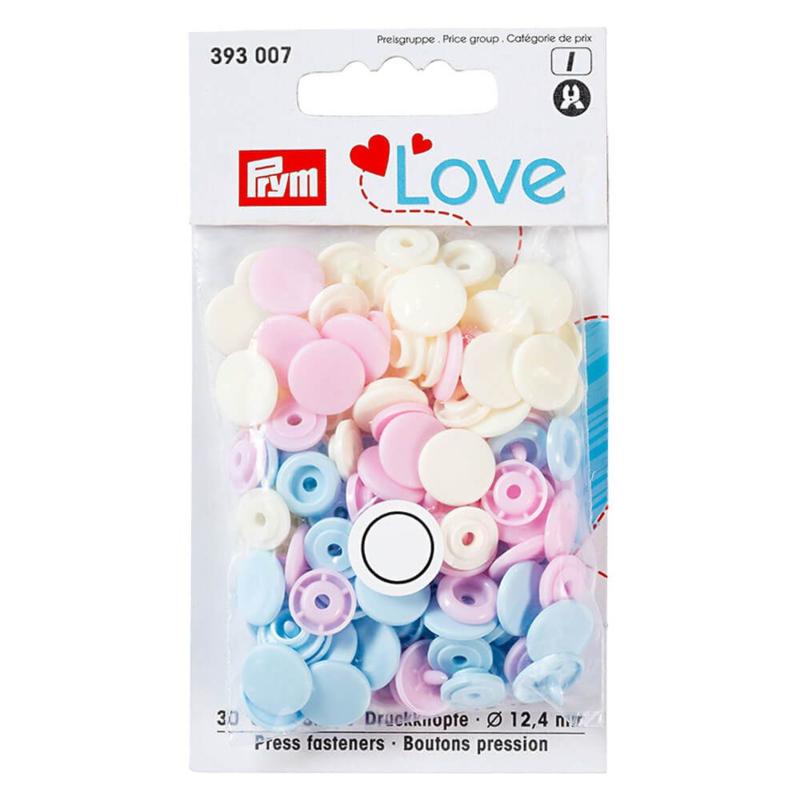 Color snaps -  Prym Love color rond 12,4mm creme, babyroze en babyblauw