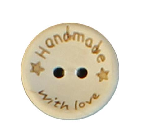 Houten knoop met Handmade  with Love 20mm
