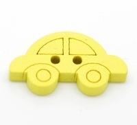 Houten knoop / applicatie auto geel 19 mm