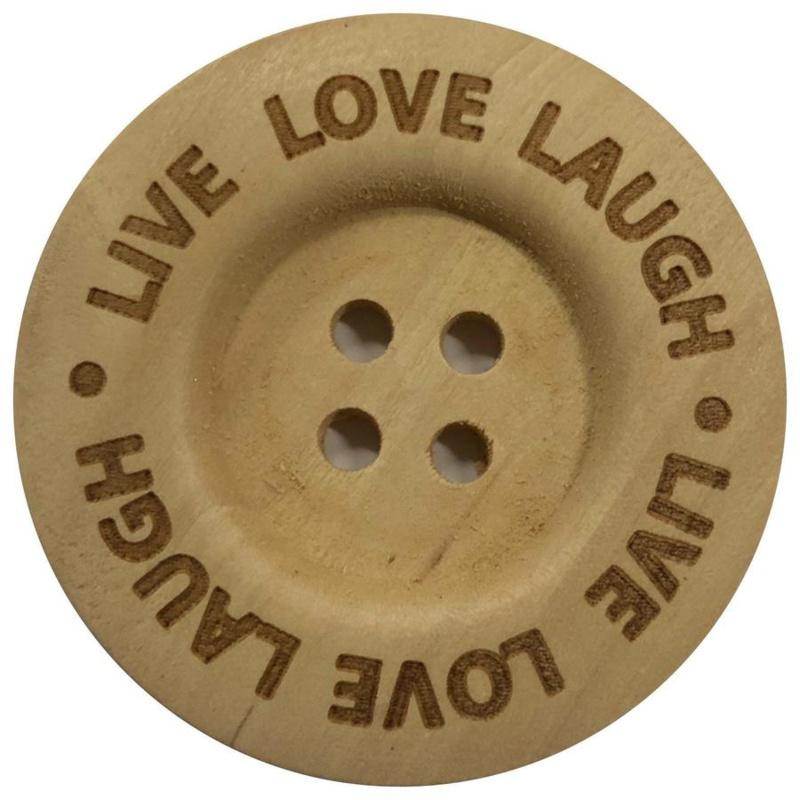 Houten knoop: Live Love Laugh 40mm