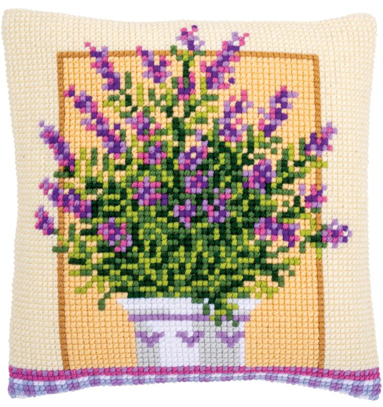 Kruissteken kussen pakket Lavendelpot